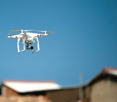 White Flying Drone With Camera